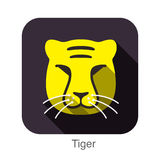 Tiger animal face flat icon Royalty Free Stock Photo