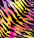 Tiger animal print watercolor background. Royalty Free Stock Images