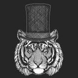 Tiger Bästa hatt, cylinder Hipsterdjur, gentleman Klassisk huvudbonad Tryck för barn t-skjorta, bekläda för ungar vektor illustrationer