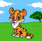 Tiger baby cartoon illustration Royalty Free Stock Photography