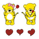 Tiger baby cartoon valentine rose set Stock Photo