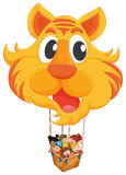 A tiger balloon with a basket full of kids Royalty Free Stock Photo