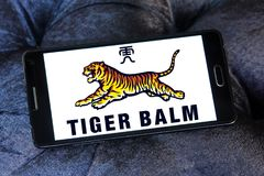 Tiger Balm brand logo. Logo of Tiger Balm brand on samsung mobile. Tiger Balm is the trademark for a heat rub manufactured and distributed by Haw Par Healthcare Royalty Free Stock Photography