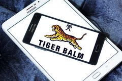 Tiger Balm brand logo. Logo of Tiger Balm brand on samsung mobile. Tiger Balm is the trademark for a heat rub manufactured and distributed by Haw Par Healthcare Royalty Free Stock Image