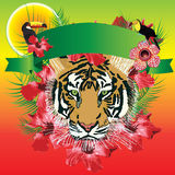 Tiger banner tropical Royalty Free Stock Images