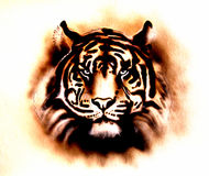 Tiger. A beautiful airbrush painting of a bright mighty tiger head on a soft toned abstract background stock illustration