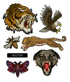 Tiger, bee, butterfly, eagle, leopard and panther embroidery patches for textile design. Stock Photos