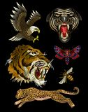 Tiger, bee, butterfly, eagle, leopard and panther embroidery patches for textile design. Tiger, bee, butterfly, eagle, leopard and panther embroidery patches vector illustration