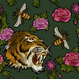 Tiger, bee and peony flowers embroidery pattern for textile design. Tiger, bee and peony flowers embroidery vector illustration