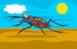 Tiger beetle running in desert illustration Royalty Free Stock Photo