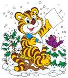 Tiger and bird Stock Image