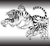 Tiger black and white vector illustration Stock Photo