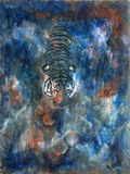 Tiger Blue colors. Funky & Modern Multicolored Oil painting on Canvas, Tiger in blue colors. I, the Artist, owns the copyright royalty free illustration