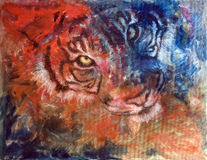 Tiger Blue and Red. Funky & Modern Multicolored Oil painting on Canvas, Tiger in blue and red colors. I, the Artist, owns the copyright vector illustration