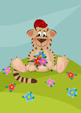 Tiger with bouquet of flowers Stock Image