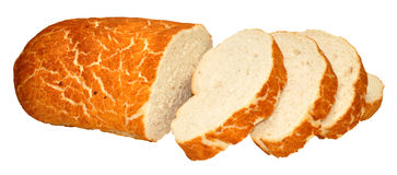Tiger Bread Bloomer Loaf. Crusty tiger bread bloomer loaf partially sliced, isolated on a white background Stock Images
