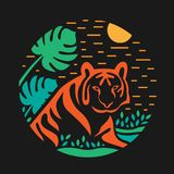 Tiger in Bush grass abstract circle style vector design royalty free illustration
