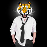 Tiger, businessman character design. On black background Royalty Free Stock Photo