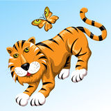 Tiger And Butterfly Stockbild