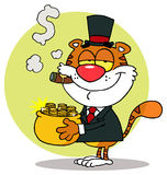 Tiger carrying a pot of gold and smoking a cigar Stock Photography