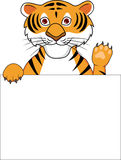 Tiger cartoon with blank sign Royalty Free Stock Photos