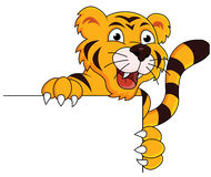 Tiger cartoon with blank sign Royalty Free Stock Images