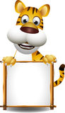 Tiger cartoon with blank sign Stock Photo