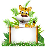 Tiger cartoon with board Stock Photography