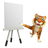 Tiger cartoon character with easel board. 3d rendered illustration of Tiger cartoon character with easel board Royalty Free Stock Photo