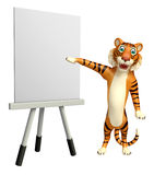 Tiger cartoon character with easel board. 3d rendered illustration of Tiger cartoon character with easel board Stock Images