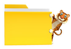 Tiger cartoon character with folder Royalty Free Stock Image