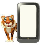 Tiger cartoon character with mobile Stock Image