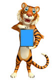 Tiger cartoon character with tab Royalty Free Stock Images