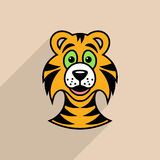 Tiger cartoon face. Colorful tiger cartoon face icon long shadow Stock Image