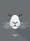 Tiger cartoon face, flat animal face icon vector Royalty Free Stock Photography