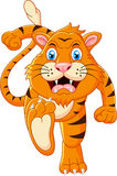 Tiger cartoon running Stock Photos