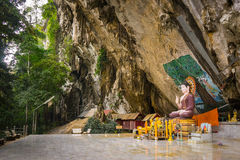 Tiger cave buddha 2. Buddha shrine at the tiger cave in krabi - thailand Stock Photography