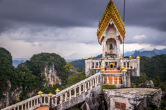 Tiger cave temple Krabi. View of top of Tiger cave temple Krabi. The famous buddhist temple in Southern Thailand is reached by climbing 1.237 steep stairs Royalty Free Stock Photography