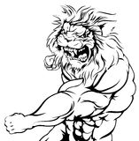 Tiger character fighting. An illustration of a mean looking lion animal sports mascot punching Royalty Free Stock Photography