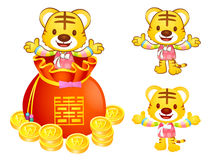 A Tiger character in a lucky bag. Korea Traditional Cultural cha Stock Images