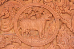 Tiger Chinese zodiac animal sign. Wood carving of tiger Chinese zodiac animal sign royalty free stock image