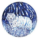 Tiger chinese zodiac happy new year, watercolor painting minimal Royalty Free Stock Images