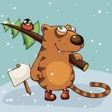 Tiger with Christmas tree Stock Photo