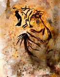 Tiger collage on color abstract  background,  rust structure, wildlife animals. Stock Image