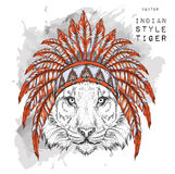 Tiger in the colored Indian roach. Indian feather headdress of eagle. Hand draw vector illustration Royalty Free Stock Image