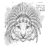Tiger in the colored Indian roach. Indian feather headdress of eagle. Hand draw vector illustration Stock Image