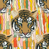 Tiger cool seamless pattern Stock Photography