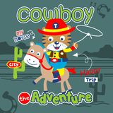 Tiger the cowboy funny animal cartoon,vector illustration. For t shirt and wallpaper or book stock illustration
