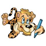 Tiger with crayon