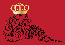 A tiger with a crown on red background Royalty Free Stock Photos